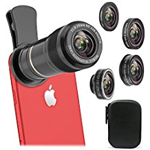 Cell Phone Camera Lens Kit, Vorida 5 In 1 HD Lens Kit 12X Telephoto Lens + 198° Fisheye Lens + 0.65X Wide Angle Lens + 15X Macro Lens, Clip-On for iphone 8 7 6s plus 5, Samsung & Most Smartphone