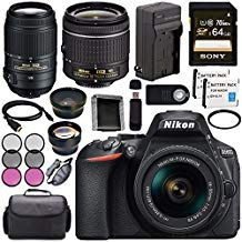 Nikon D5600 DSLR Camera with 18-55mm VR AF-P Lens (Black) 1576 + Nikon 55-300mm f/4.5-5.6G ED VR Lens + Lithium Ion Battery + Charger + Sony 64GB SDXC Card + HDMI Cable + Remote + Card Reader Bundle