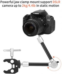 "TOAZOE 11"" Adjustable Robust Articulating Friction Magic Arm Clamp Holder Mounts Kit for DSLR/Mirrorless/Action Camera/Camcorder/LCD Monitor Video Vlog Rig w/Smartphone/iPhone/GoPro/Arlo etc"